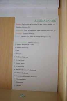 Weekly Cleaning Schedule -- this really works! by raquel