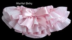 Pink Gingham Sassy Pants Ruffle Diaper Cover Bloomers with Bow on Etsy, $32.00