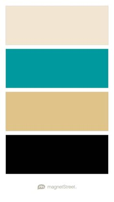 Champagne, Teal, Gold, and Black Wedding Color Palette - custom color palette created at MagnetStreet.com