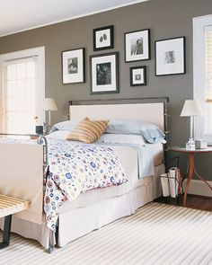 "Gray bedroom, ""Graceful Gray"" Martha Stewart."
