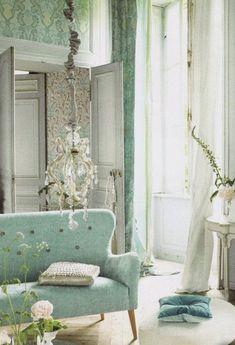Living Area, Living Room Decor, Living Spaces, Living Rooms, Moderne Couch, Deco Pastel, Deco Studio, Green Sofa, Arquitetura