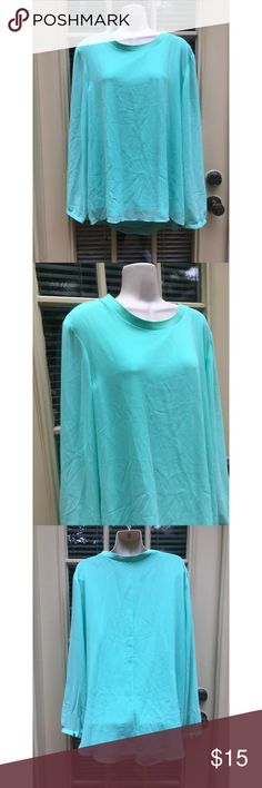 ✨ NWOT Turquoise Chiffon Long Sleeve Blouse - NWOT Gorgeous turquoise chiffon long sleeve top  - new without tags (took them off prematurely and never wore the top)  - Gorgeous chiffon feel, material is 100% polyester  - Long sleeves, buttoned cuffs  - Awesome color perfect for the office or a night out  - Has slip underneath to reduce see-through  - Elastic band around neck line (see photo)  - Brand: Sami & Jo  - Size: L (true to size)  *20% off 2+ * Make me an offer!! Sami & Jo Tops…