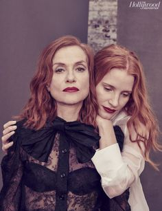 Isabelle Huppert and Jessica Chastain, photographed by Ruven Afanador for The Hollywood Reporter, May Isabelle Huppert, Jessica Chastain, Portraits, Portrait Poses, Portrait Photography, Michael Haneke, Mother Daughter Poses, Red Hair Inspiration, Actress Jessica