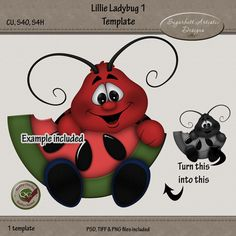 Photoshop template for graphic design and scrapbooking. You can find links to my store for this template on my blog here http://sugarbuttartisticdesigns.blogspot.com/2015/07/new-ladybug-templates-now-in-stores.html