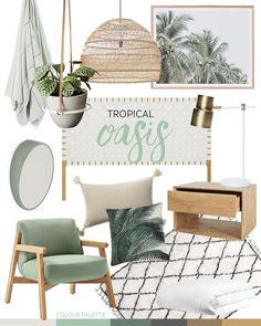 THROW / PLANT HANGER / PENDANT LIGHT / PRINT / BEDHEAD / LAMP / MIRROR BEDSIDE TABLE / CREAM CUSHION / PALM CUSHION / CHAIR / RUG / QUILT COVER