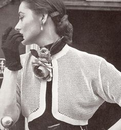 Vintage Crochet Pattern Fishnet Bolero Shortie Jacket