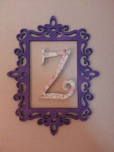Decorated initial and frame for little girls room. Super easy! Using this idea http://pinterest.com/offsite/?url=http%3A%2F%2Ftracirenay.blogspot.com%2F2010%2F09%2Fcreepy-lady-and-her-twin.html=d39ee709ca8055c9228133bcf6d1b1236964eb73=59743132527533453