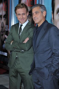 Hunk alert! Ryan Gosling and George Clooney at Ides of March premiere