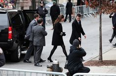 On her way: Kate stepped out of a black SUV accompanied by an aide as she headed inside, w...