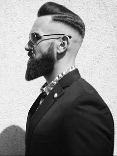 Repost: 'One of our favourite cuts of the year! Strong look strong image. Hair & beard cut to perfection.' Hair by Model: by besthairstylemen Trimmed Beard Styles, Faded Beard Styles, Beard Styles For Men, Hair And Beard Styles, Shaved Head With Beard, Bald With Beard, Beard Cuts, Beard Fade, Beard Haircut