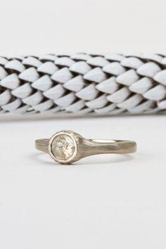 Icy grey rose cut diamond and palladium empire engagement ring by Corey Egan in San Francisco