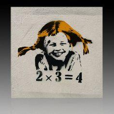 "Bild auf Leinwand ""Banksy Graffiti "" Kunstdruck Street Art Pipi Langstrumpf"
