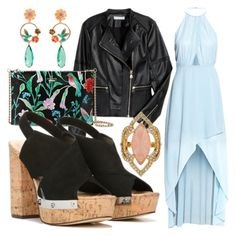 An #alfresco #dinnerdate calls for #standout in the moonlight style—like that ethereal #maxidress with an #eyecatching clutch & fabulous Fergie #sandals! #datelook #platformsandals (Fergie Footwear: Black Suede LUNAR Dress Sandals on Polyvore featuring H&M apparel with Kate Spade accessories)