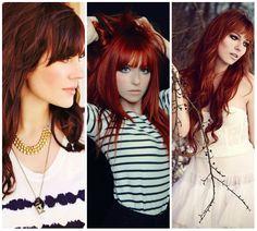 capelli lunghi rossi mossi con frangetta