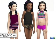 Childrens Swimsuit Three Pack at NyGirl Sims via Sims 4 Updates