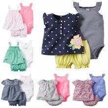 Polka dot padrão de algodão Do Bebê roupas de menina Conjunto de Roupas de Bebê macacão de bebê Meninas verão Define 3 peças/set = 1 conjunto + 1 romper(China (Mainland))