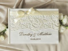 Wedding Guest Book Guestbook Lace Emboidery by DecorisWedding, $45.00