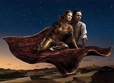 Jennifer Lopez and Marc Antony in Aladdin in Annie Liebovitz' Disney Dream Portraits