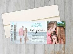 Photo Boarding Pass Save the Date – Social Savvy Design Destination Wedding Save The Dates, Destination Wedding Inspiration, Passport Invitations, Floral Wedding Invitations, Wedding Stationery, Vintage Save The Dates, Striped Wedding, Save The Date Magnets, Invitation Design