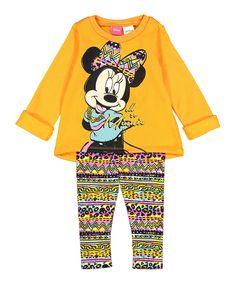Look at this #zulilyfind! Orange Minnie Sweatshirt & Leggings - Infant & Toddler by Bentex #zulilyfinds