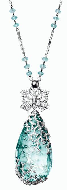 Cartier Necklace in Platinum, a 236.27ct. Aquamarine, Aquamarine beads, Baguette-cut and Brilliant Diamonds
