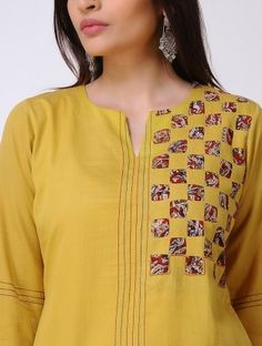 Yellow Cotton Satin Kurta with Patch Work Salwar Pattern, Kurta Patterns, Printed Kurti Designs, Salwar Designs, Dress Neck Designs, Blouse Designs, Neckline Designs, Pakistani Fashion Casual, Indian Fashion