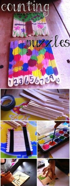 Dondurma çubuklarından basit puzzle yapmak