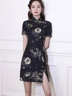 Shop Black Printed Short Cheongsam Qi Pao Dress at imallure.com. A wide collection of high quality qipao & cheongsam in various style. New arrivals daily. FREE INTERNATIONAL SHIPPING. Cheongsam, Mandarin Collar, Black Print, Printed Shorts, Short Sleeve Dresses, Casual, Prints, Free, Shopping