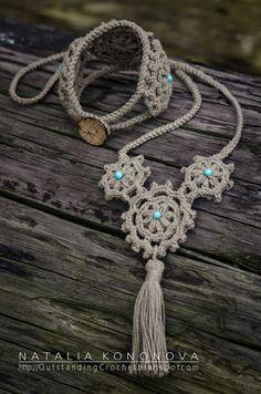 New project. Crochet Boho Bracelet & Necklace.