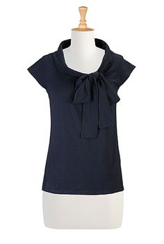 Bow tie neck knit top