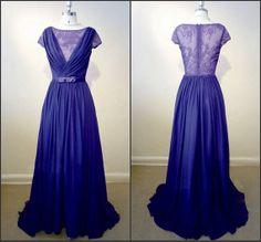 Royal Blue Aline Ruffles Vneck Lace Bridesmaid by hzweddingdress, $115.00