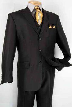Vinci Men's Classic 3 Piece Suit Collection- Herringbone - Clothing Connection Online