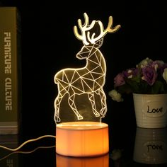 3D USB Acrylic 3 Color Changing Deer LED Night Light Desk Table Lamp Decor Gift