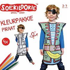 www.leukverjaardagsfeestje.nl Kleurpakkie piraat 4-pack. Een set van 4 leuke kleurpakkies. Maak samen met je vriendjes en vriendinnetjes je eigen piraten pak. Ook leuk om te gebruiken tijdens een piratenfeestje.  Prijs v.a. 19,95