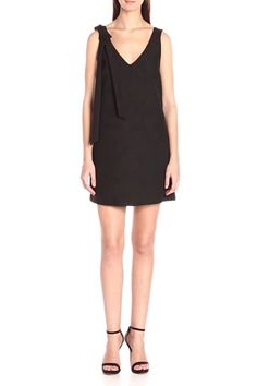 Lightweight sleeveless dress with a wide v-neckline and a ribbon detail on one shoulder. Sleeveless Black Dress by Kendall + Kylie. Kendall, Kylie, Date Night Dresses, V Neck Dress, Dress Outfits, One Shoulder, Neckline, Montreal Canada, Ribbon
