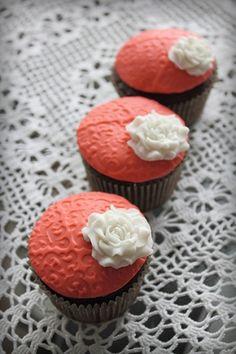 Coral cupcakes—pretty!