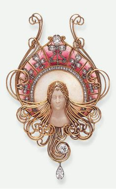 A RARE ART NOUVEAU DIAMOND, OPAL, HARDSTONE AND ENAMEL PENDANT, BY GABRIEL FALGUIERES Centering upon a carved hardstone female bust adorned by a diamond collet head ornament, within a surround of gold wirework tresses, accented by old European-cut diamond detail and a pear-shaped diamond terminal, set against a carved opal frame, to the rose colored plique-à-jour enamelled border, enhanced by pear-shaped and rose-cut diamond foliate motifs and trim, mounted in gold, circa 1901 | JV