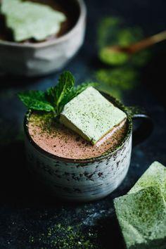 Fresh Mint Hot Cocoa with Matcha Marshmallows