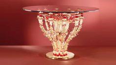 #Tavolo #vetro Tavolo in vetro oro e rosso H. 85 cm – ø. 130 cm Dimensioni e colori disponibili su richiesta