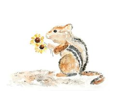 Whimsical Animal Painting, Nursery Art Print, Woodland Art, kids wall art,  Cute, Chipmunk Watercolor Painting - For You, Sweet Fluff via Etsy