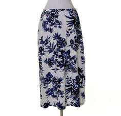 Jones New York White Indigo Blue Floral Silk Slight A-line Lined Skirt Size 14 #JonesNewYork #ALine
