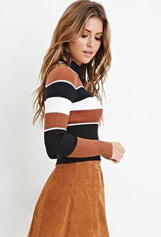 Mock Neck Striped Sweater | Forever 21 - 2000147062