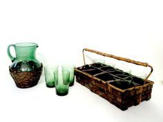 Rattan Wicker Tumblers Glassware Set of 8 by TheVintagePorch