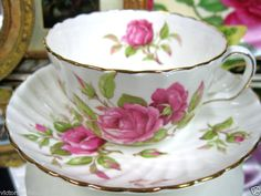 ADDERLEY TEACUP SWIRLED PINK ROSES TEA CUP AND SAUCER DUO