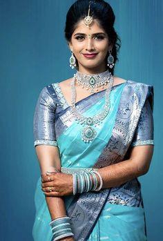 Wedding Saree Blouse Designs, Pattu Saree Blouse Designs, Half Saree Designs, Fancy Blouse Designs, Bridal Sarees South Indian, South Silk Sarees, Bridal Silk Saree, Saris, Blue Silk Saree