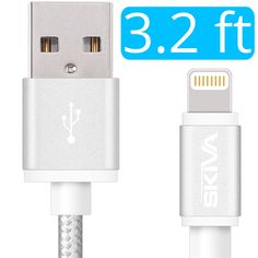 Apple MFi Certified Lightning Cable - Skiva USBLink Braided (3.2 ft / 1m) Sync and Charge 8-pin Cable for iPhone 7 6 6s Plus 5s 5c SE, iPad Pro Air mini, iPod touch nano 7th gen (Black) [Model:CB124]
