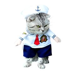 SMALLLEE_LUCKY_STORE Small Cat Dog Sailor Costume with Hat Navy -- For more information, visit image link. (This is an affiliate link) #CatApparel