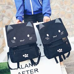 3471d6648445 Cat Face embroidery 3D backpack Black Backpack