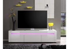 Meuble TV blanc brillant avec éclairage