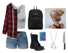 """""""I tried once again"""" by exhibitcinnamonroll ❤ liked on Polyvore featuring LE3NO, JanSport, Dr. Martens, Zippo and AnnaBee"""